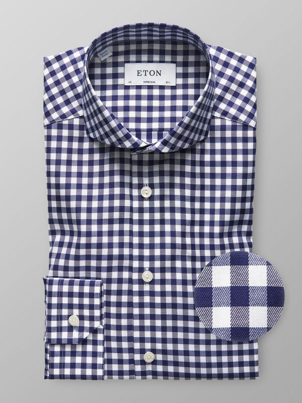 Navy Gingham Check Shirt