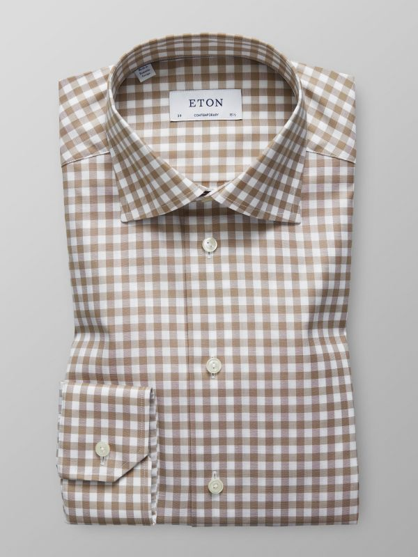 Brown Gingham Check Shirt