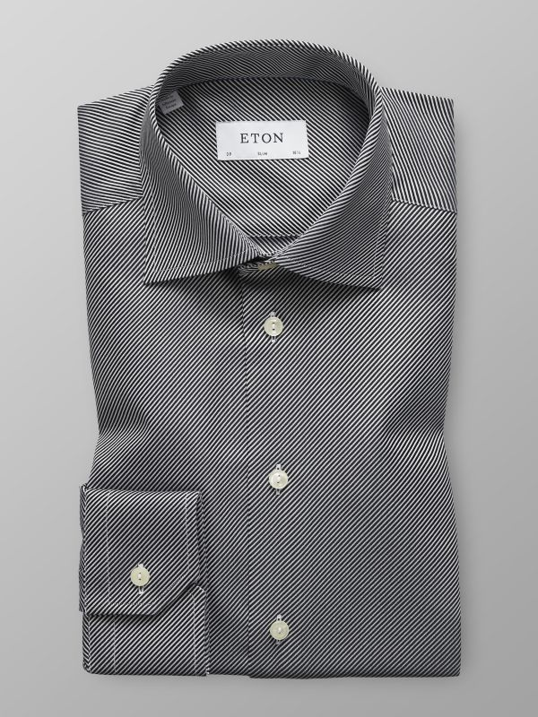 Black Textured Twill Shirt