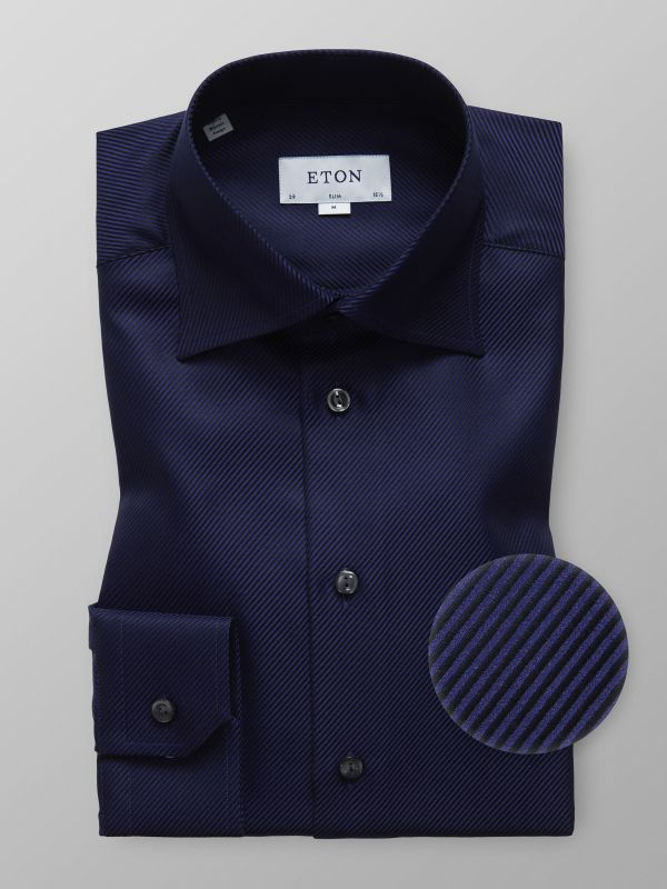 Navy Textured Twill Shirt