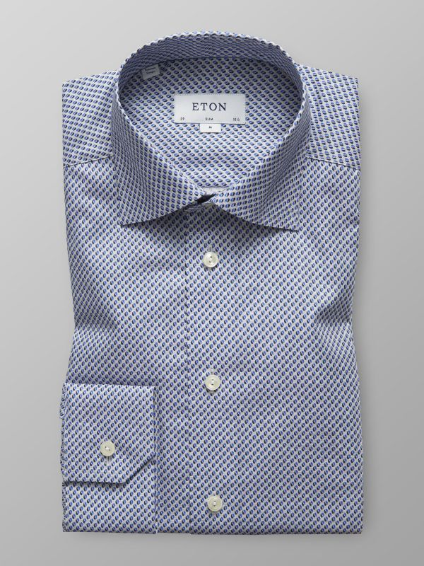 Blue Dots Print Twill Shirt