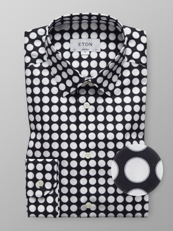 Black Bold Dots Print Shirt