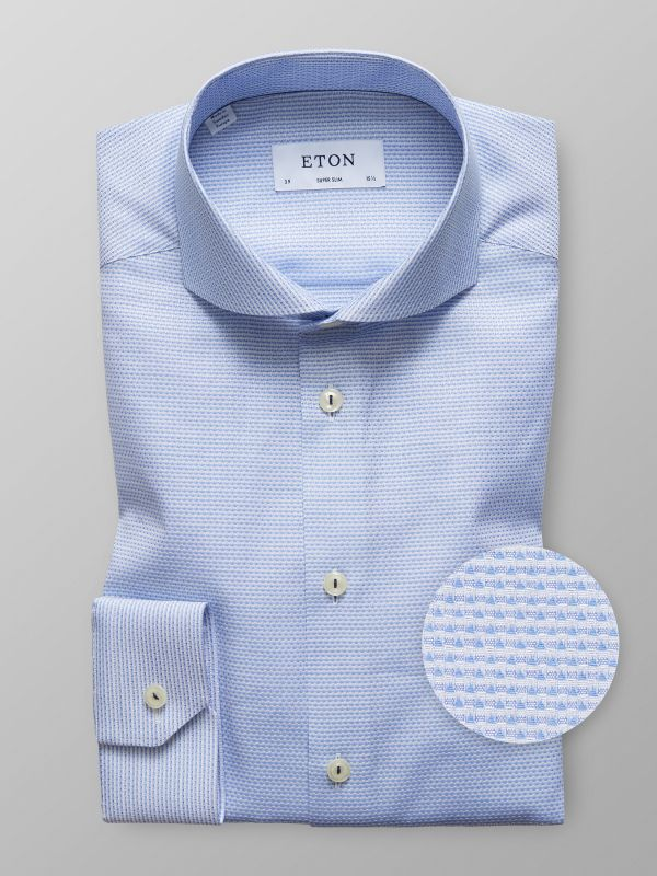 Blue Micro Weave Twill Shirt