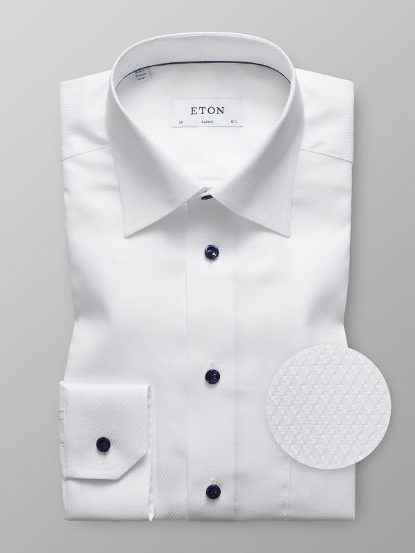 White Twill Blue Buttons Shirt