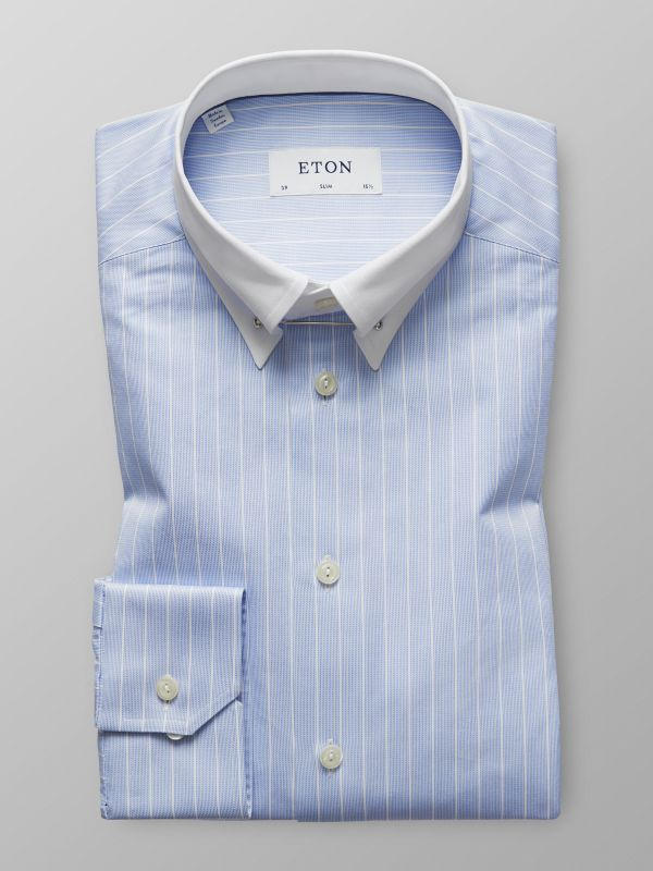 Blue & White Striped Pin Collar Shirt