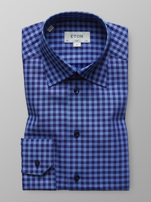 Navy & Blue Gingham Check Shirt