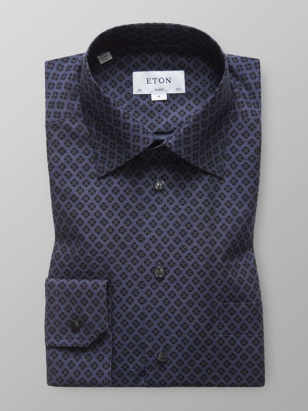 Navy Micro Pattern Shirt