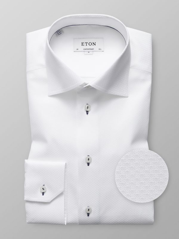 White Twill Shirt - Navy Details