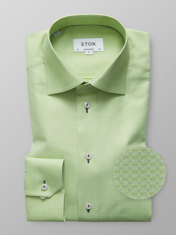 Green Twill Shirt - Navy Details
