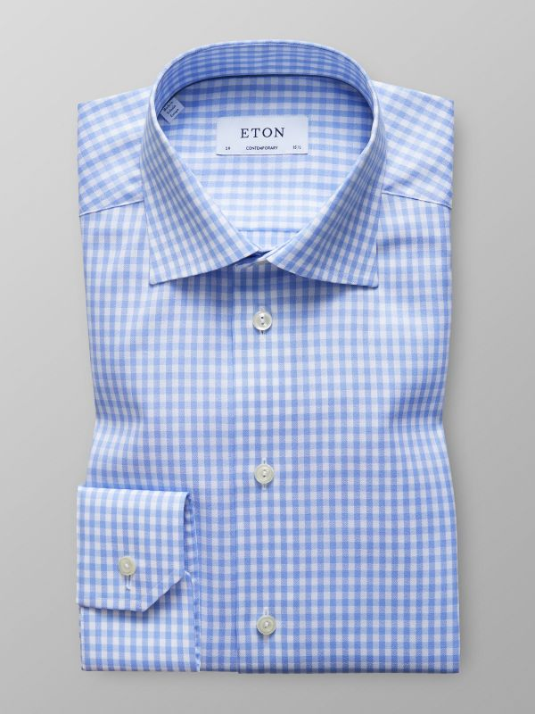 Blue Gingham Check Sablé Shirt