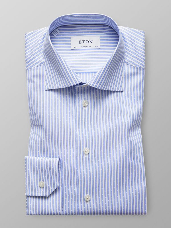 Blue Striped Woven Effect Shirt