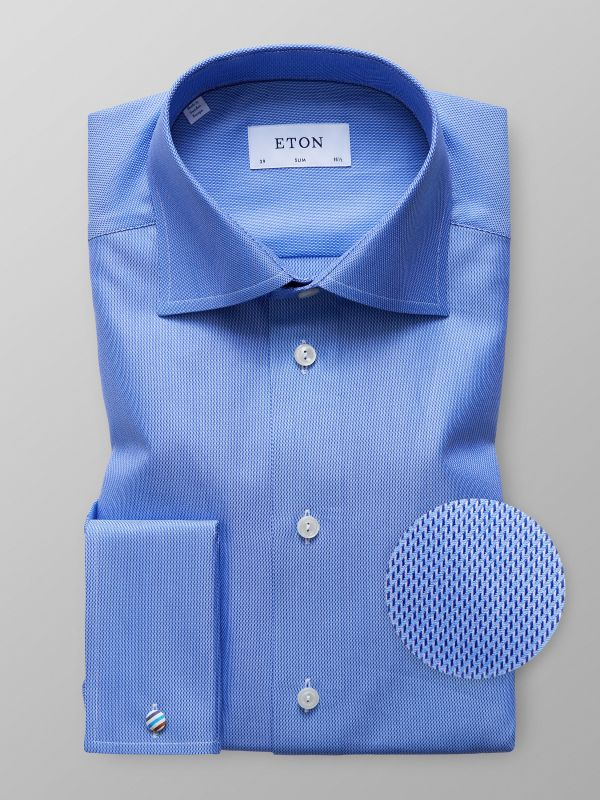 Blue Twill French Cuffs Shirt