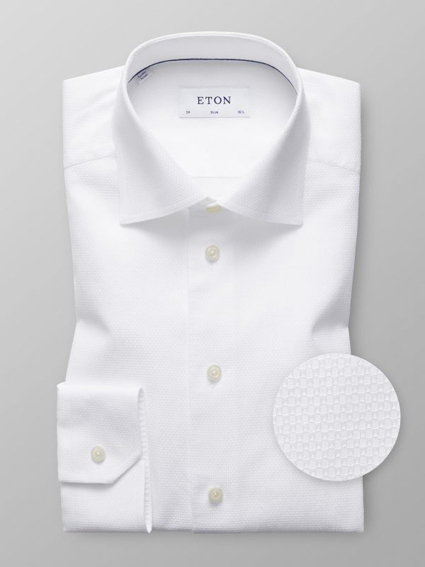 White Textured Twill Shirt
