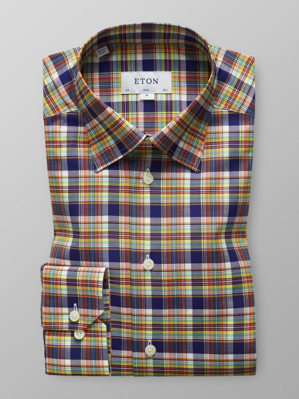 Multi Check Button Under Shirt
