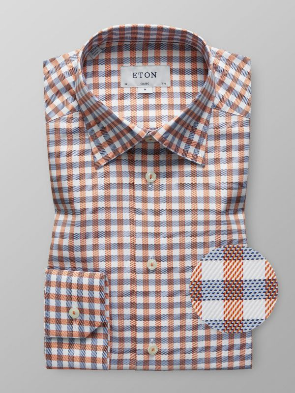 Red & Blue Check Button Under Shirt