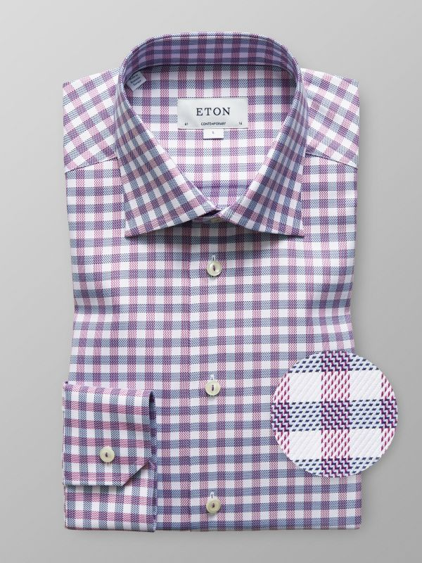 Purple & Blue Check Button Under Shirt