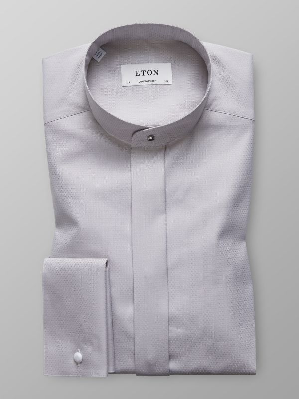 Grey French Cuff Shirt With Banded Collar