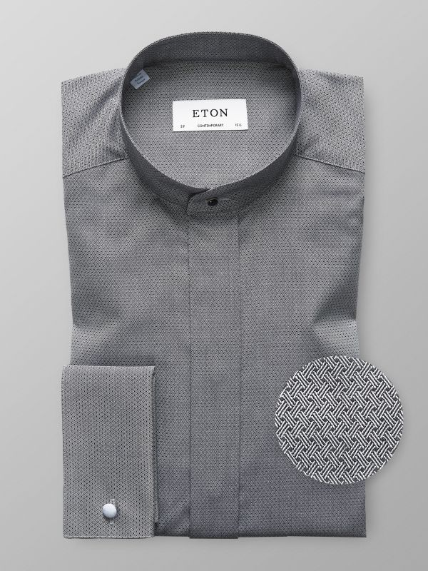 Dark Grey French Cuff Shirt With Banded Collar