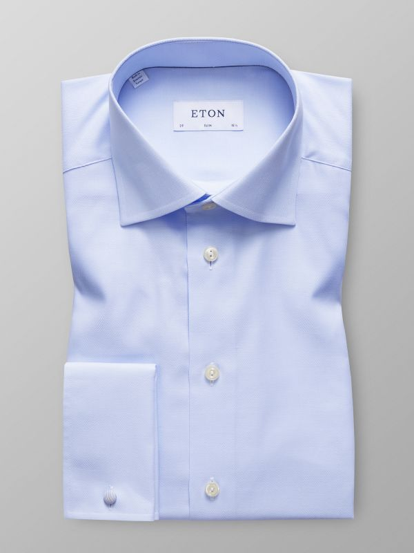 Sky Blue Herringbone French Cuff Shirt