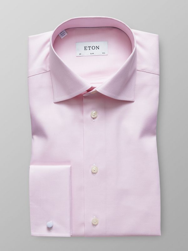 Pink Herringbone French Cuff Shirt