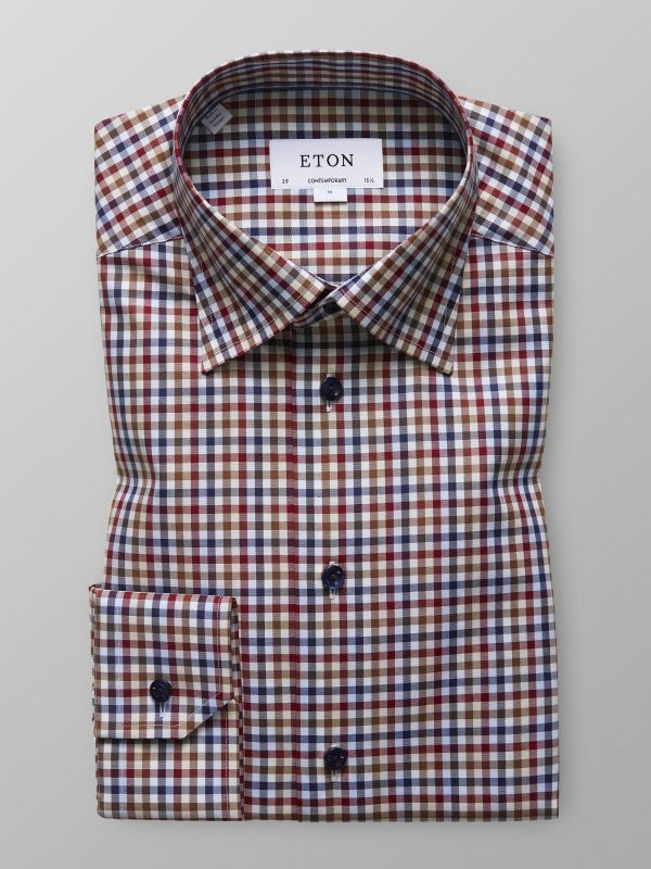 Red & Brown Check Twill Shirt