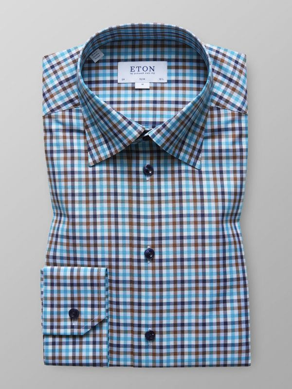 Blue & Green Check Twill Shirt