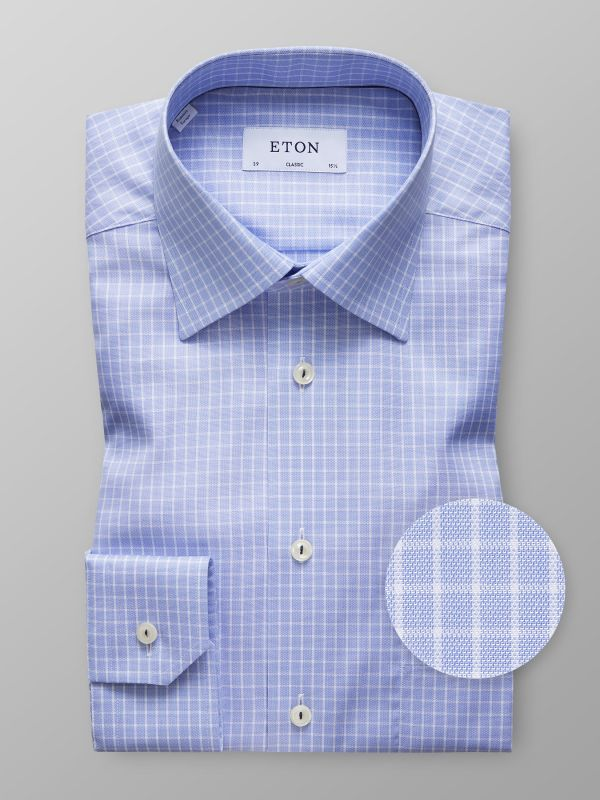 Sky Blue Check Twill Shirt