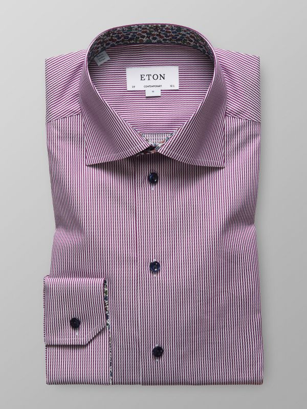 Purple Striped Shirt - Floral Details