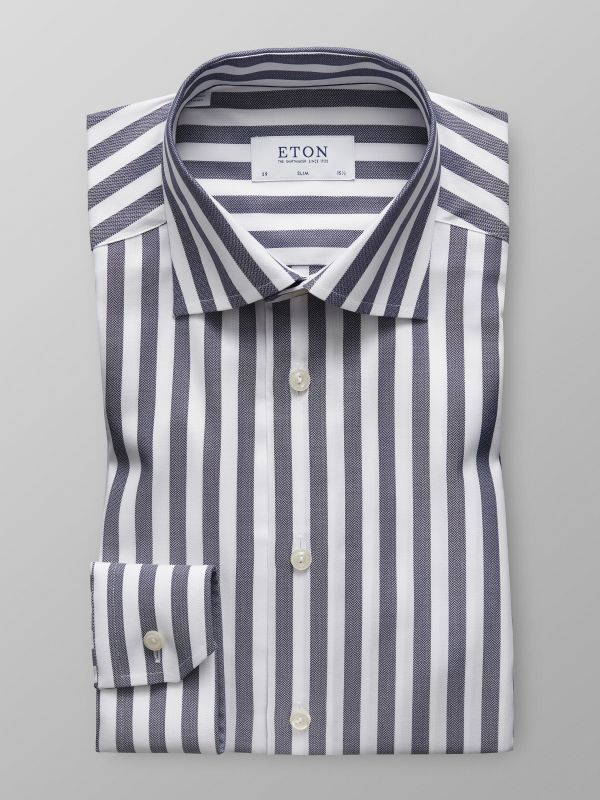 Navy & White Striped Twill Shirt