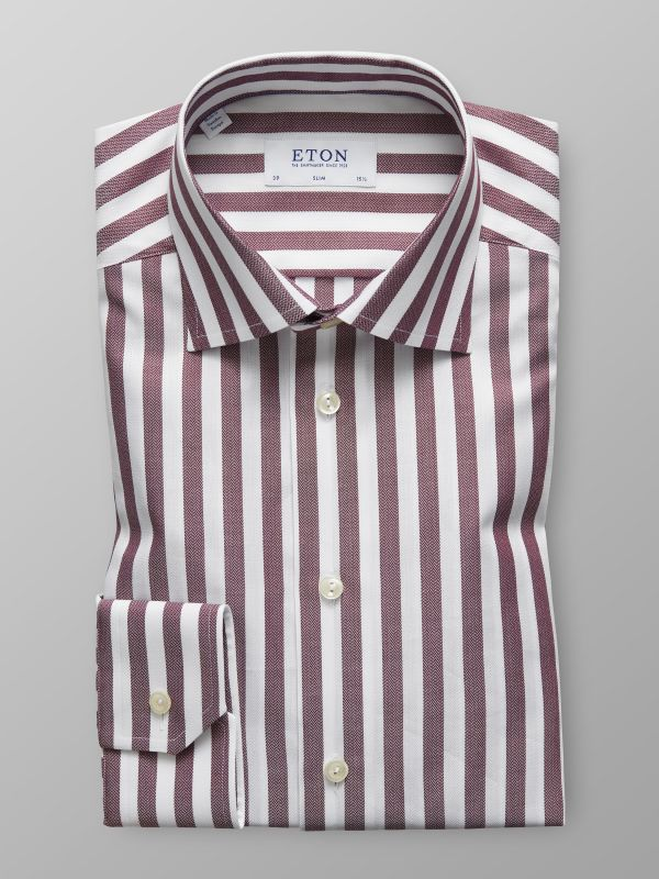 Burgundy Striped Twill Shirt