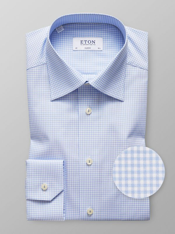 Sky Blue Check Shirt - Embroidery