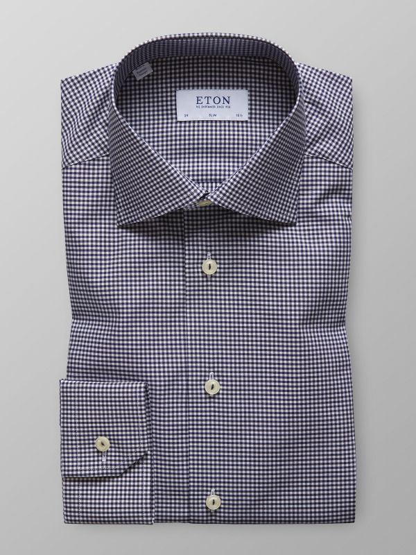 Navy Check Shirt - Embroidery