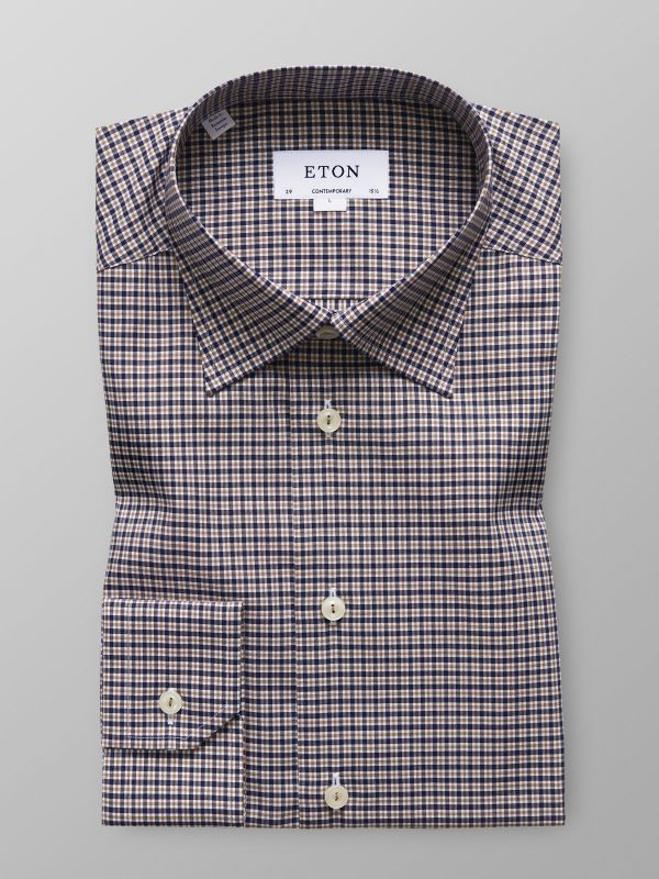 Brown & Navy Check Twill Shirt