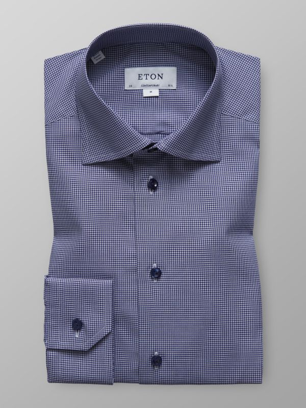 Navy Fine Check Twill Shirt