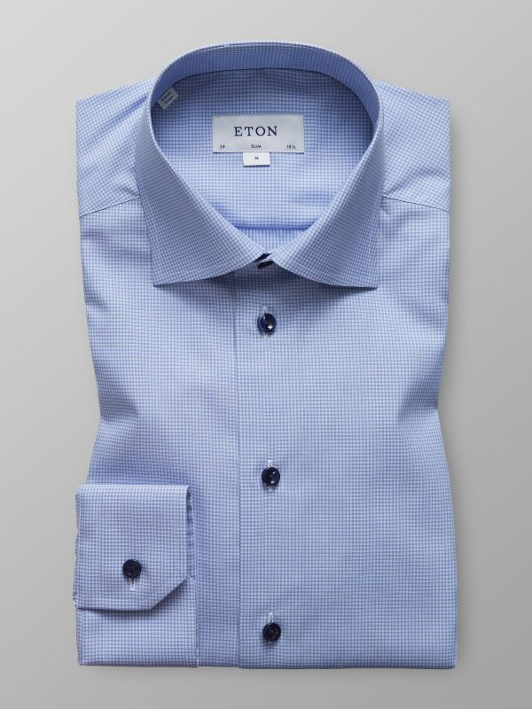 Blue Fine Check Twill Shirt