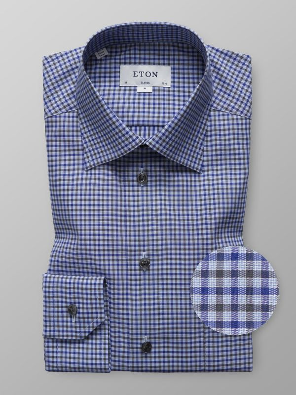 Blue & Brown Check Twill Shirt