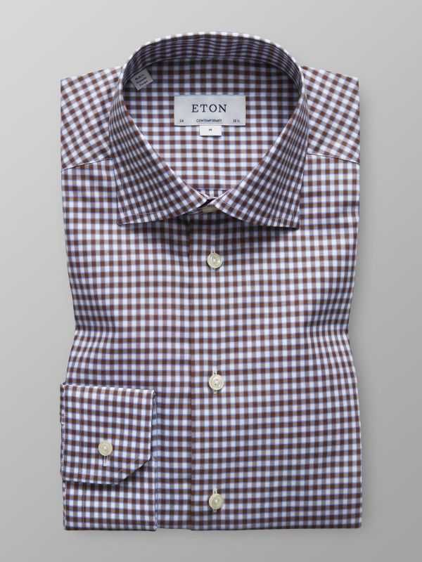 Brown Check Twill Shirt