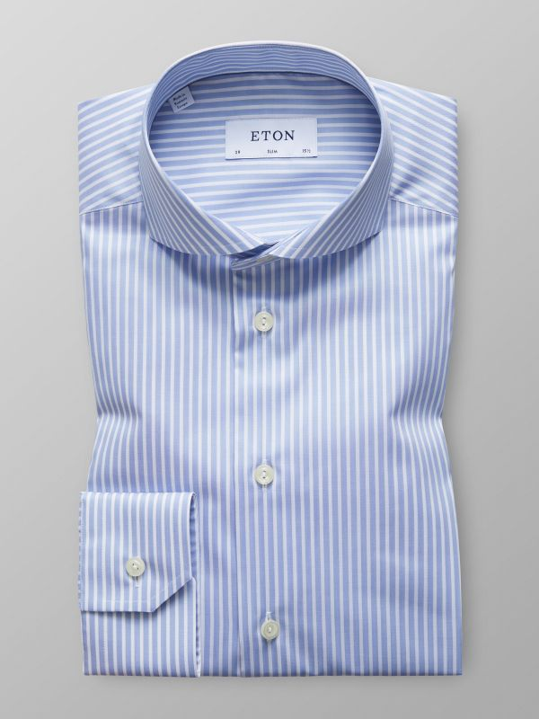 Blue Striped Mechanical Stretch Shirt