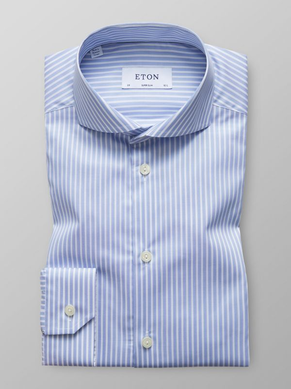 Sky Blue Striped Mechanical Stretch Shirt
