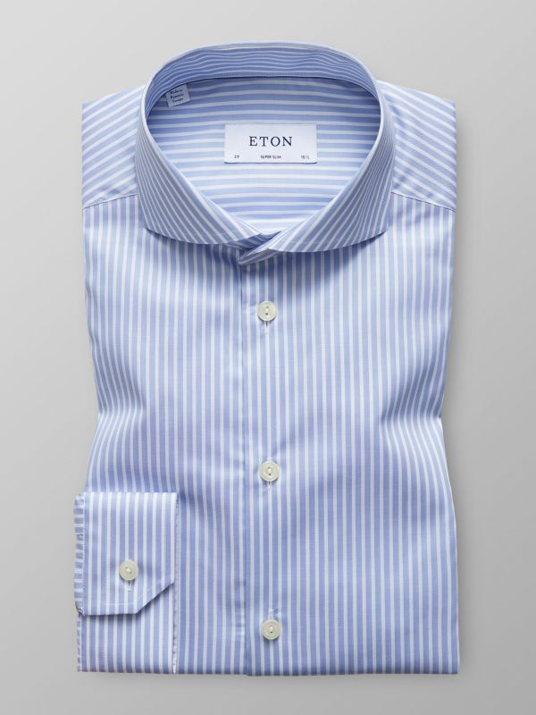 Sky Blue Striped Natural Stretch Shirt