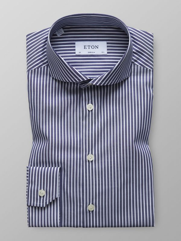 Navy Striped Mechanical Stretch Shirt