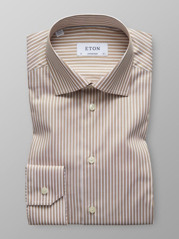 Off White Striped Natural Stretch Shirt