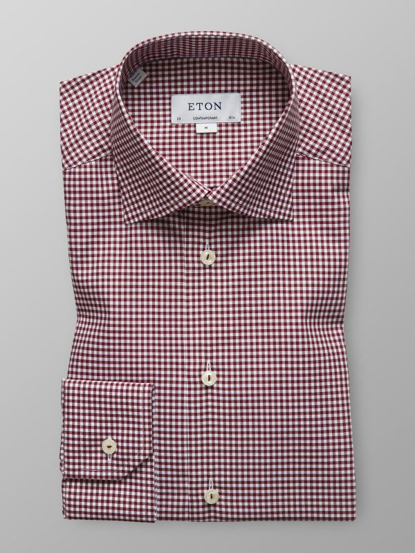 Red Fine Check Twill Shirt
