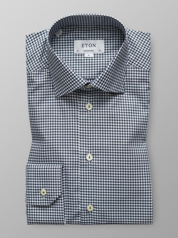 Green Fine Check Twill Shirt