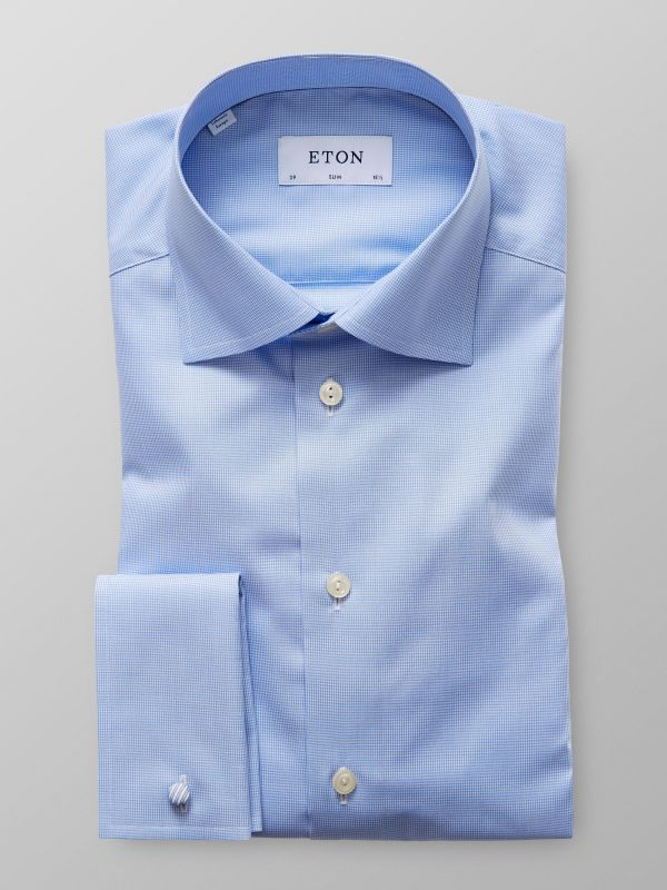 Light Blue French Cuff Hounds Tooth Shirt