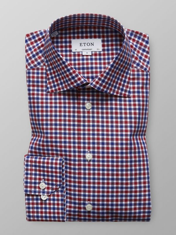 Red Fine Twill Check Shirt