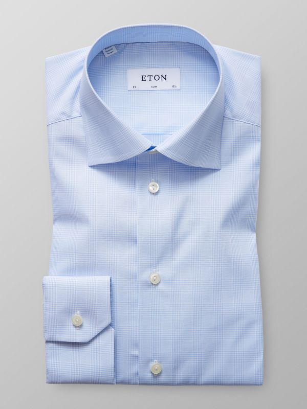 Sky Blue Prince of Wales Check Shirt