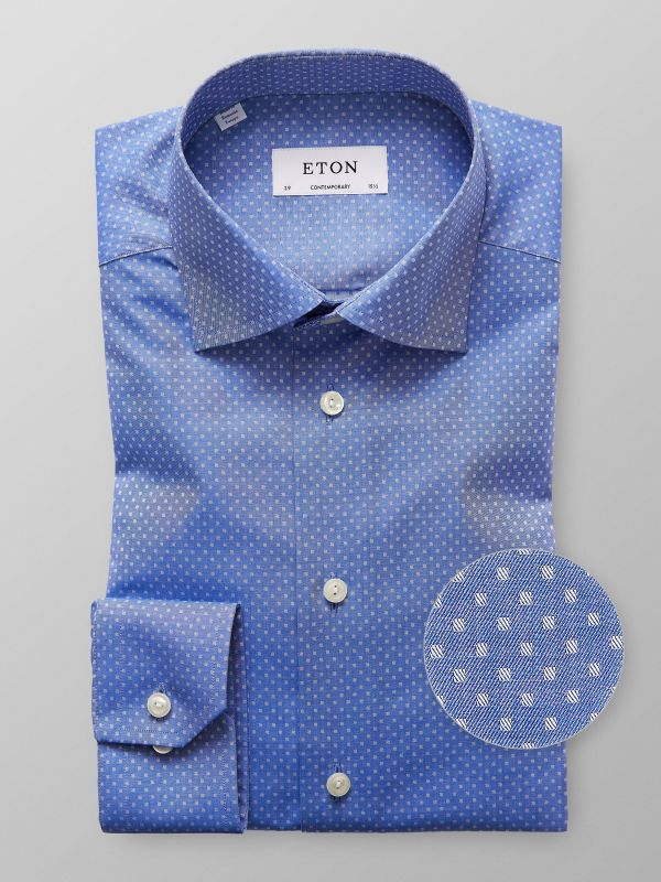 Blue Woven Micro Squares Shirt