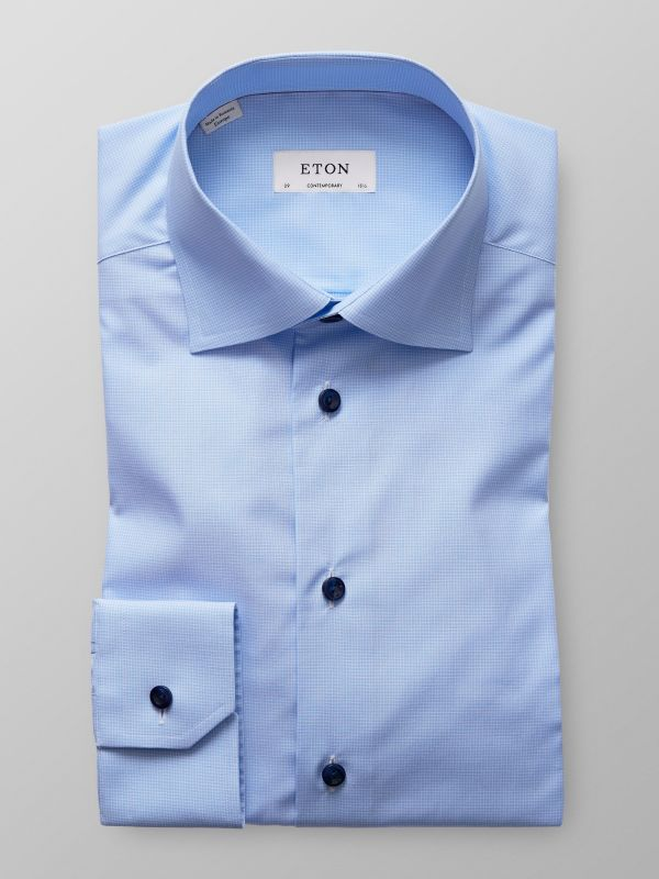 Light Blue Fine Check Shirt
