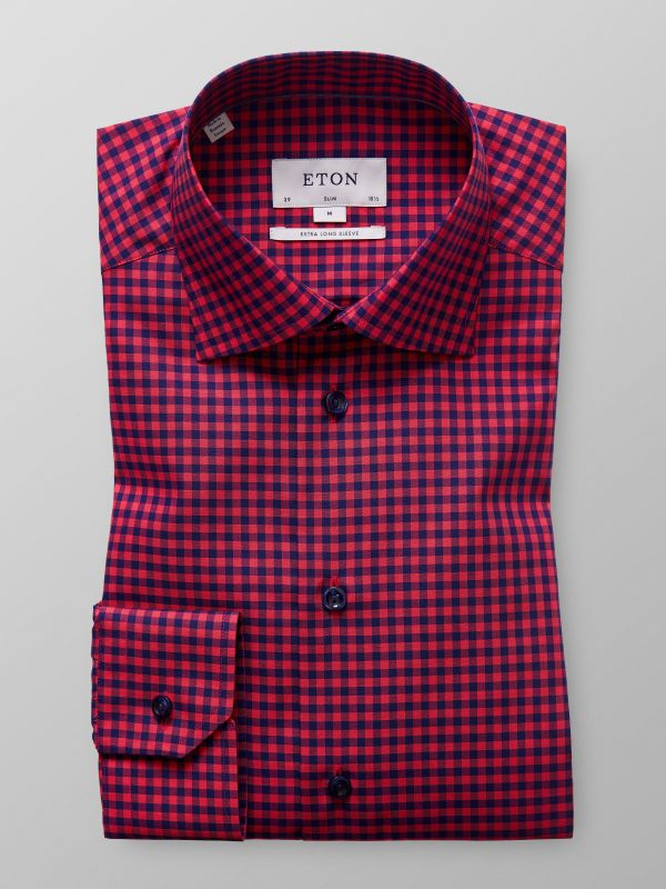 Red Check Extra Long Sleeve Shirt